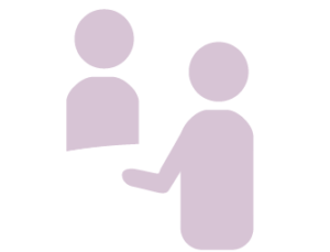Illustration of two people having a conversation while sitting at a table
