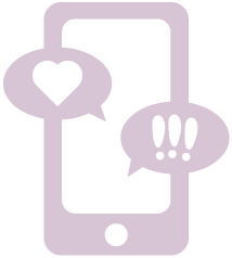 Illustration showing a mobile device receiving incoming text messages containing heart and exclaimation point symbols